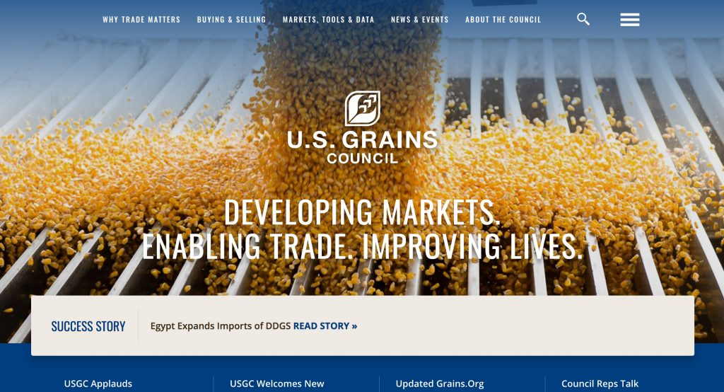 Screenshot of the first part of the the grains.org homepage