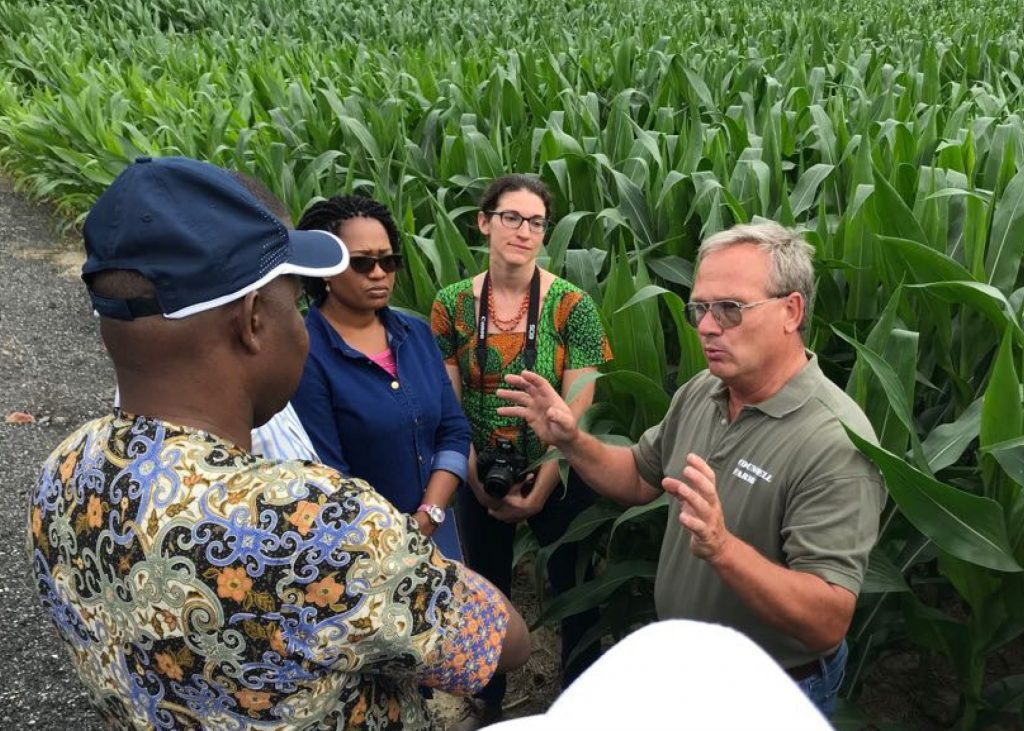 A team of Nigerian legislators traveled to the Eastern Shore of Maryland to visit USGC past chairman Chip Councell's farm as part of a visit to learn more about grower benefits and safety surrounding the use of biotechnology.