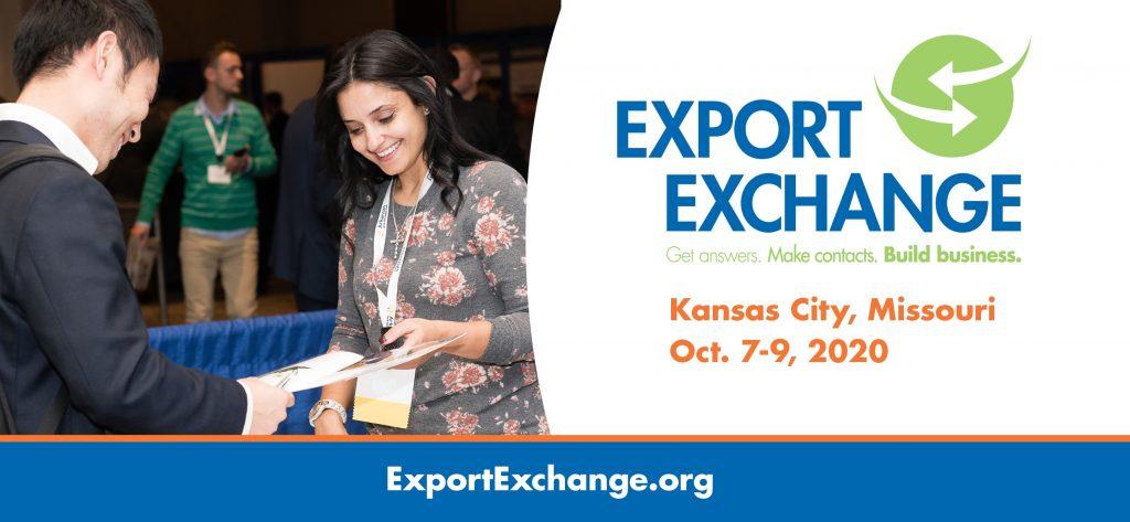 Man Handing Woman Paper Next to Export Exchange Meeting Advertisement