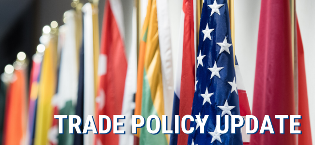 Trade Policy Update In Front of Flags