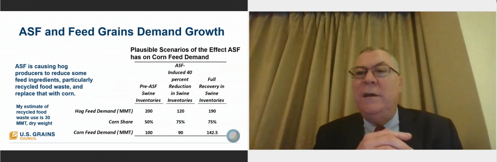 Man Presenting Slide About ASF and Feed Grains Demand Growth