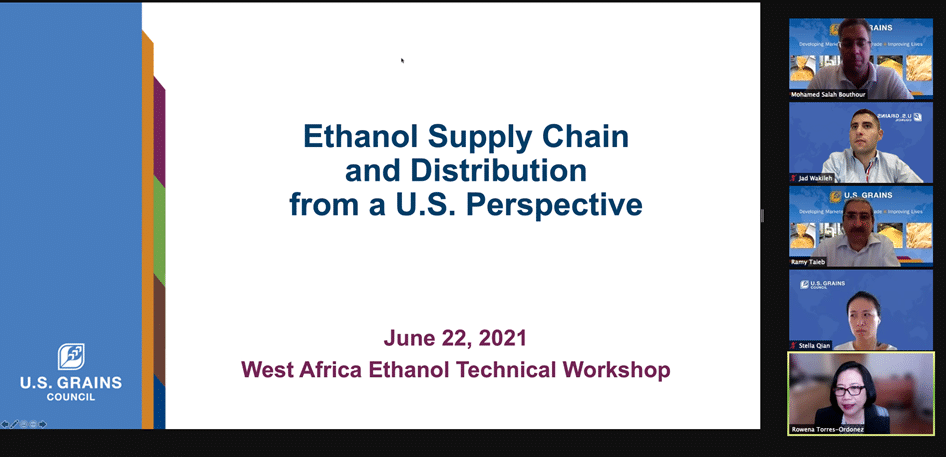 Online Meeting Next to Slide of Ethanol Supply Chain