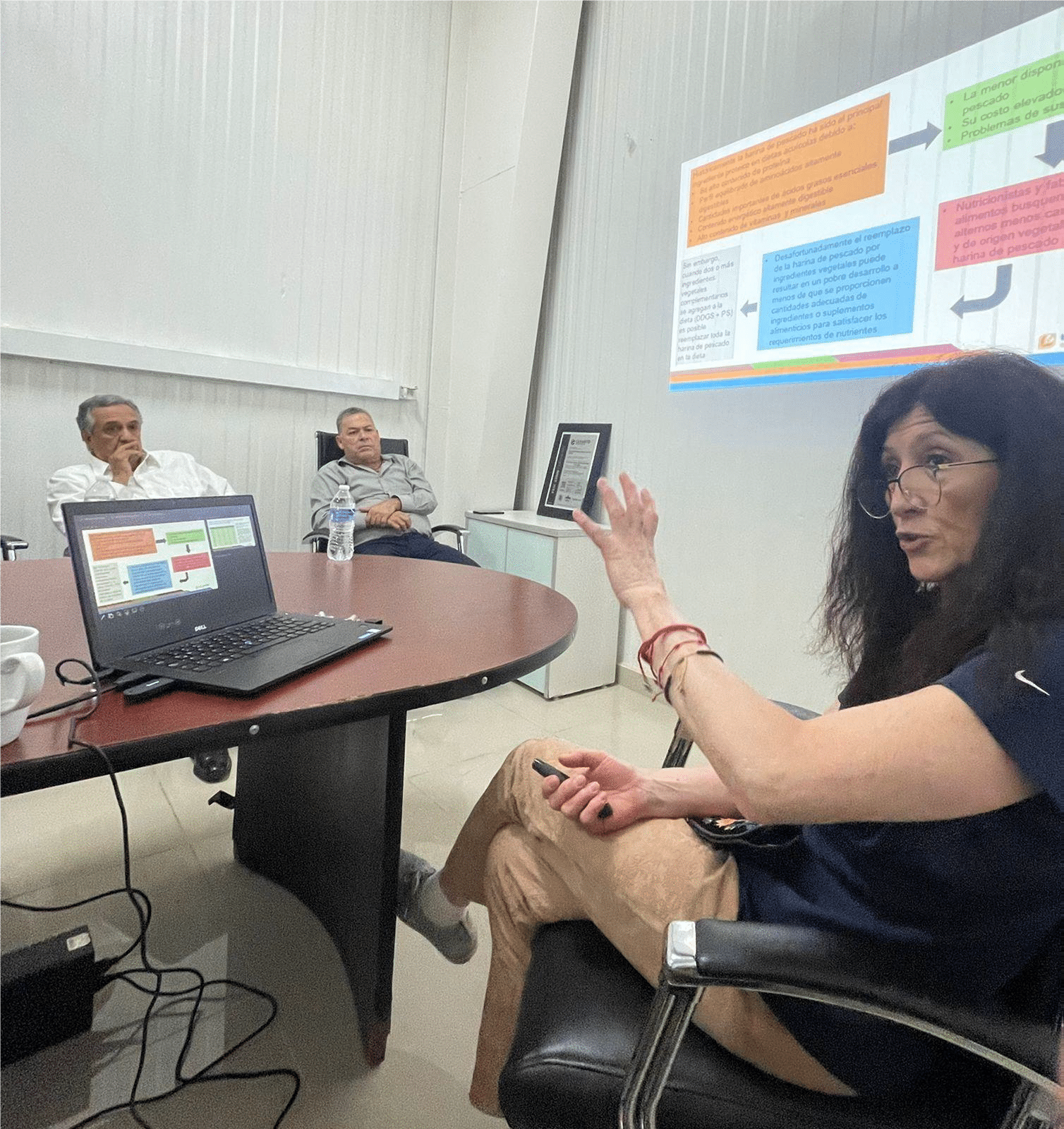 While meeting with GAM, Esqueda explained the advantages of using HiPro DDGS compared to fish meal. Fish meal is not as readily available, can be expensive and is not always sustainable.